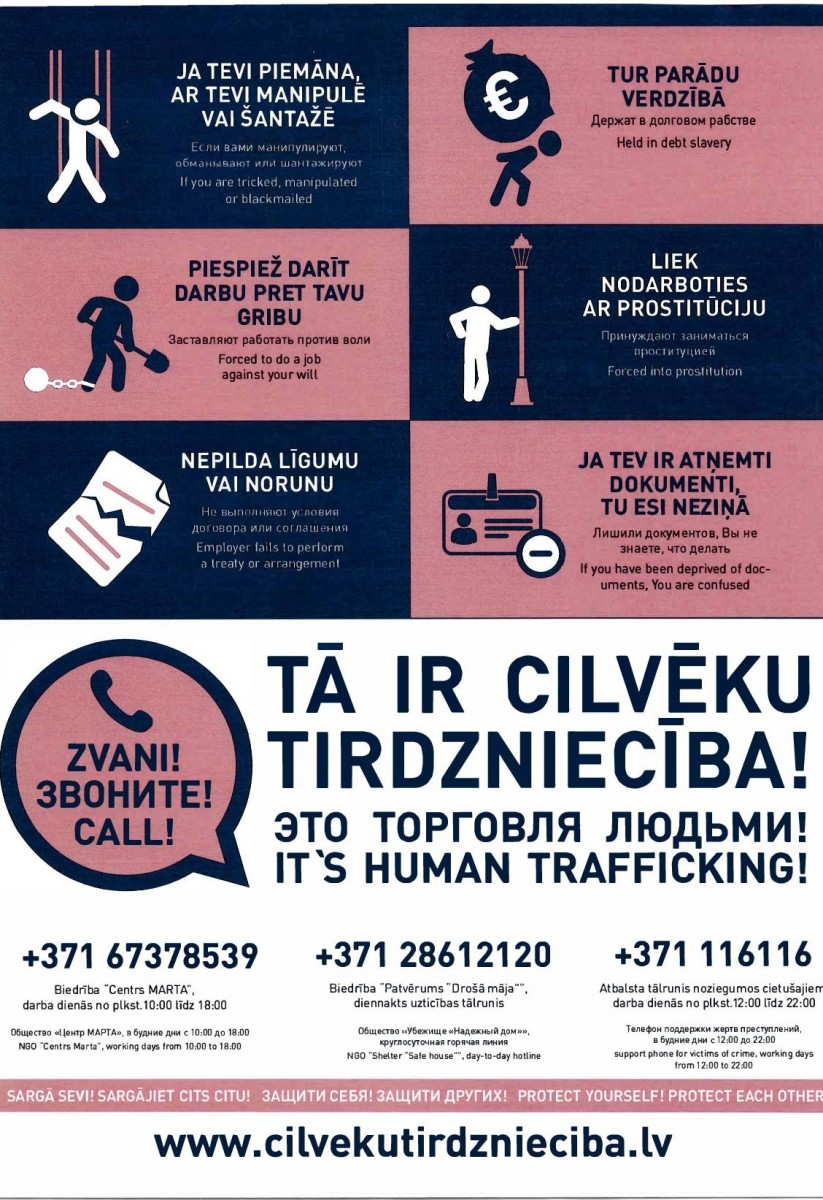 Informative posters about the types of human trafficking will be placed in the trains of joint-stock company Passengers train soon | Patvērums Drošā Māja